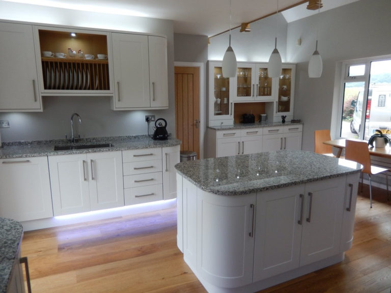 kitchen design and fitting white gloss with island basingstoke
