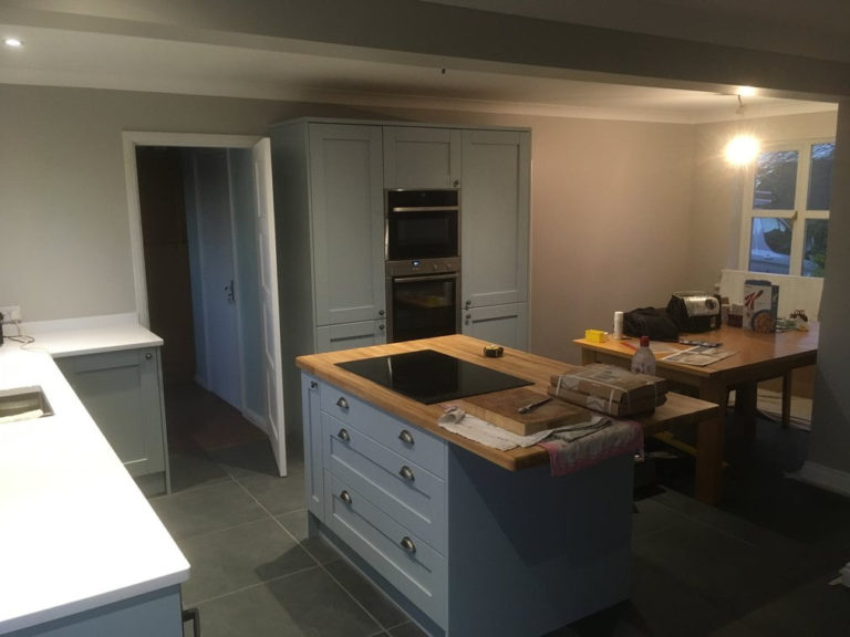 kitchen design and fitting in basingstoke dove grey centre island