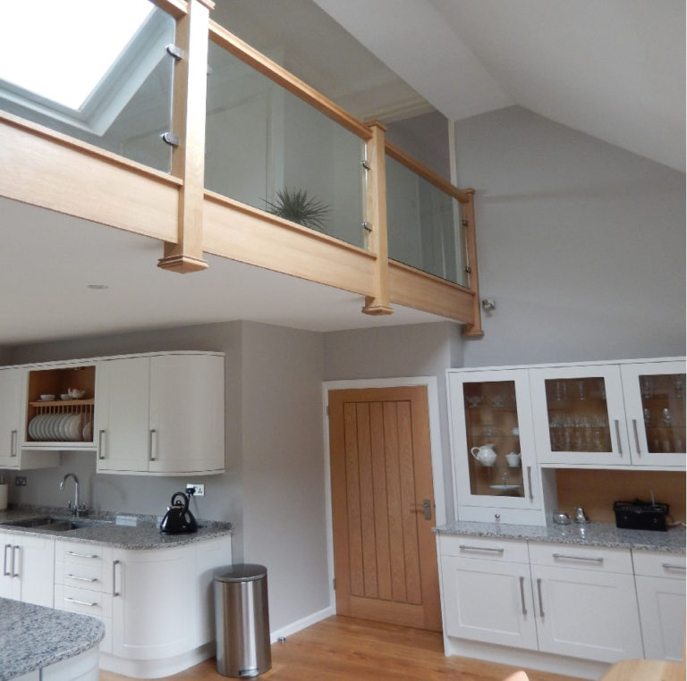 kitchen with gallery stair landing david matthews carpentry and joinery basingstoke