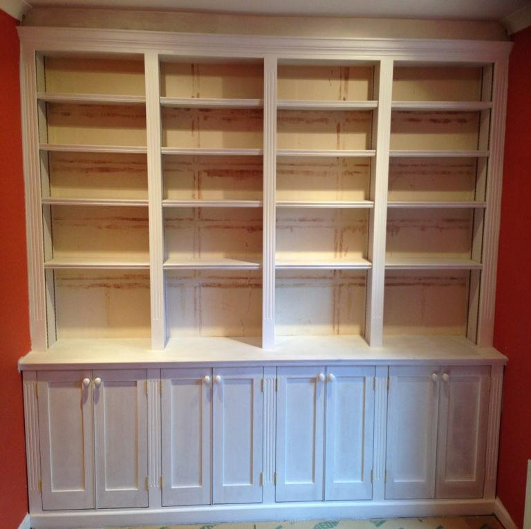 bespoke wooden bookshelves with storage david matthews carpentry and joinery basingstoke
